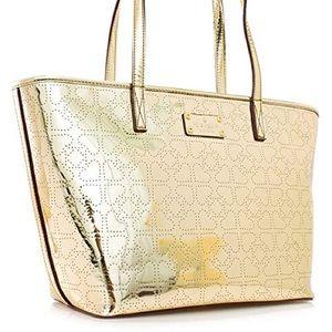 Kate spade small harmony metro tote gold bag